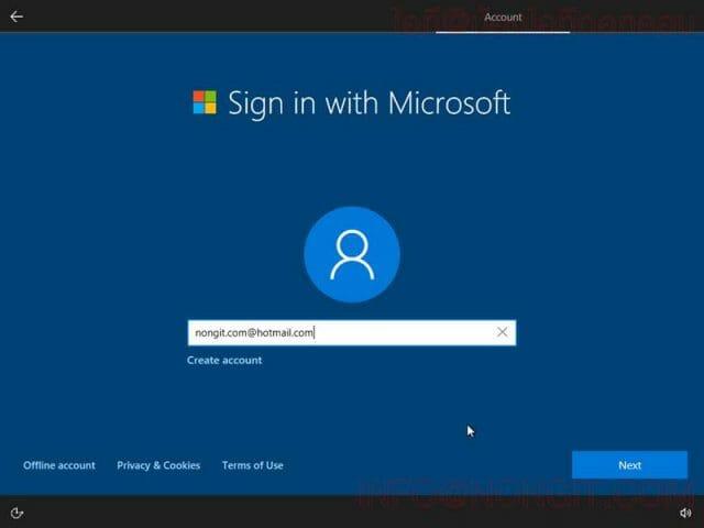 วิธีตั้งค่า User ตอนลง Windows 10 รูปที่ 6