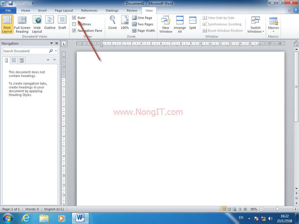 วิธีการแสดงไม้บรรทัด (Ruler) Ms Word 2007,2010,2013 - NONGIT COM