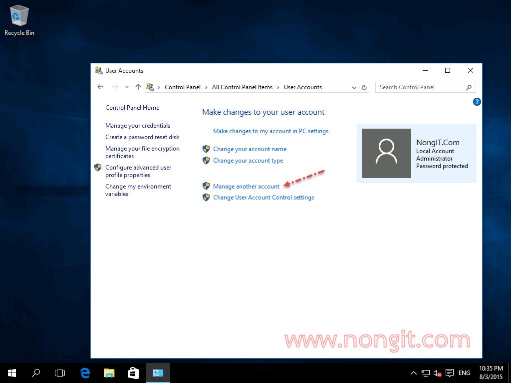 วิธียกเลิก Password ของ User Account ใน Windows 10 - NONGIT COM