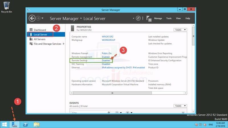 เปิดใช้งาน Remote desktop ใน Windows Server 2012 R2