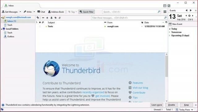 ตั้งค่า Hotmail ใน thunderbird