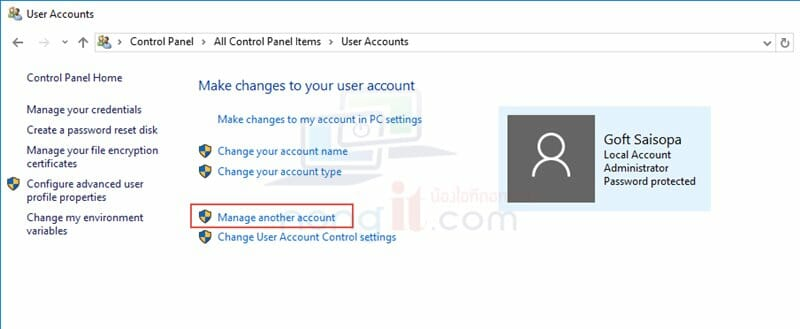 how to change windows 10 user password