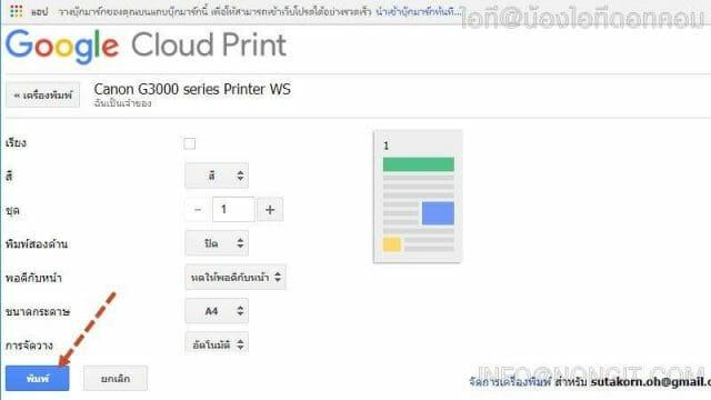 รูปตัวอย่างที่ 4 วิธีสั่งพิมพ์GoogleCloud Print