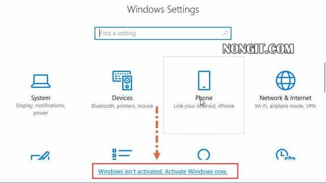 รูปตัวอย่างวิธีการ Activate windows 10 ผ่าน windows settings