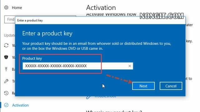 รูปตัวอย่างที่สอง วิธี Activate windows 10