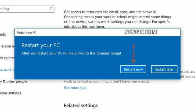 รูปตัวอย่างที่เจ็ด วิธีการ Join Domain Windows 10