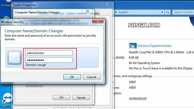 รูปตัวอย่างที่ห้า การ Join Domain Windows 7