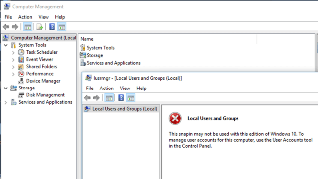 Local Users and Groups ใน Windows 10 home