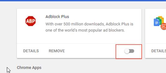 วิธีปิด adblock chrome