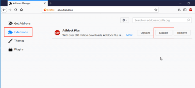 วิธีปิด adblock firefox