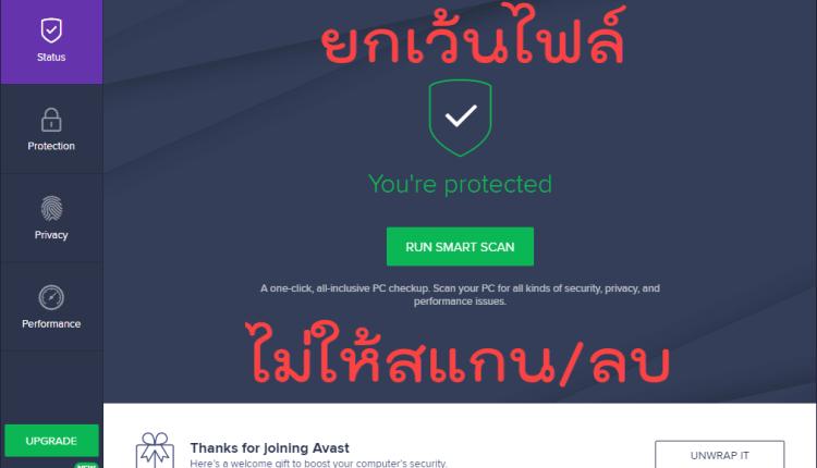 ยกเว้นไฟล์ Avast Antivirus