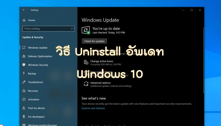 ลบอัพเดท Windows 10