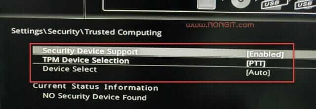 ตั้งค่า Security Device Support เป็น Enable