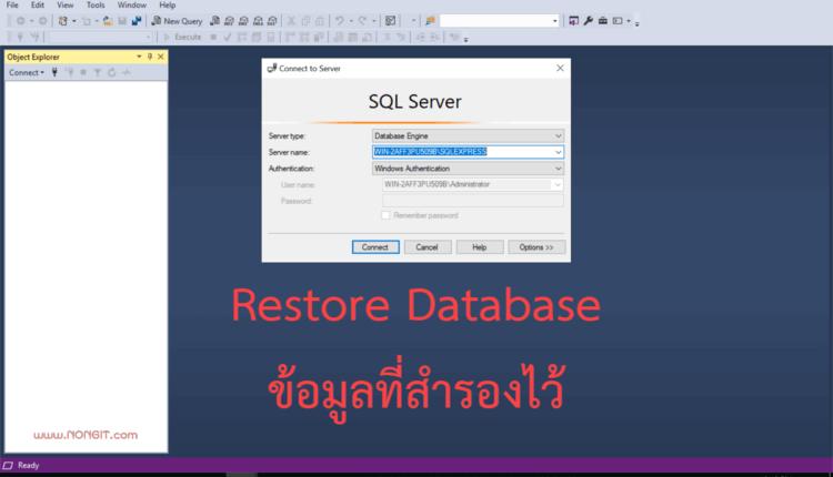 วิธี Restore Database ข้อมูล SQL Server