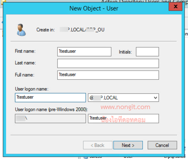 New Object - User Active Directory