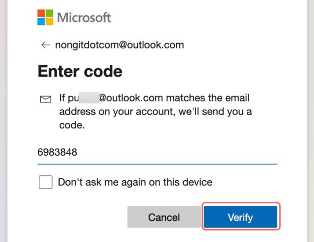 Verify microsoft account