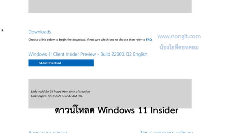 ดาวน์โหลด Windows 11 Insider Preview