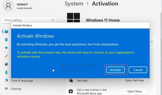 Activator (เปิดใช้งาน) Windows 11