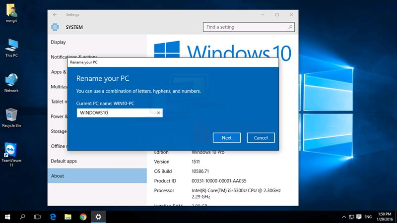 เปลี่ยนชื่อเครื่องคอมพิวเตอร์ Windows 10 ง่ายขึ้นกว่าเดิม
